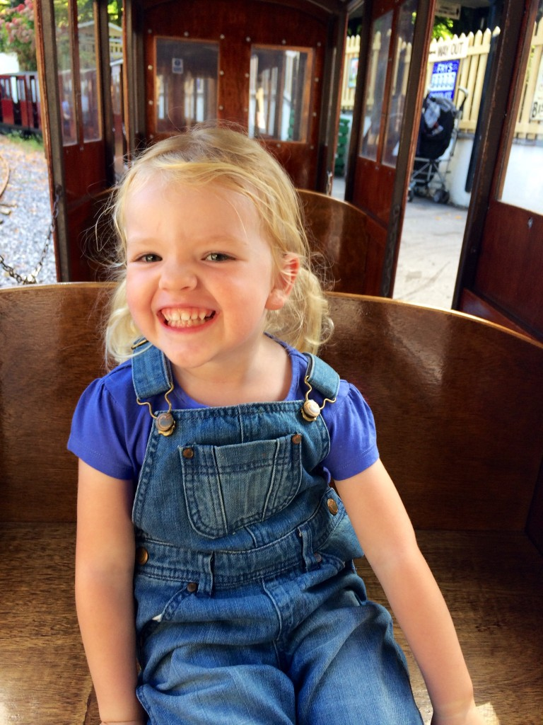 Emily on the Steam Train at Trago Mills