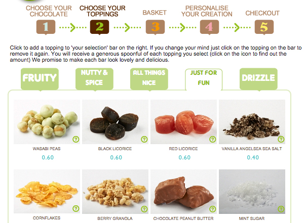 Choose chocolate bar toppings