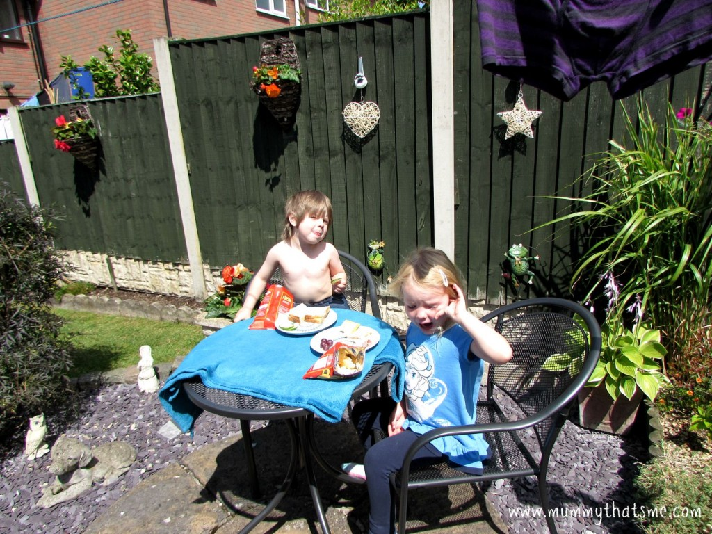 Emily and Charlie having lunch