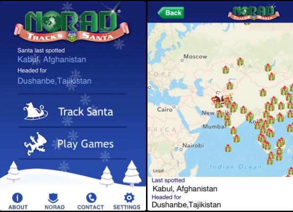 Mobile app to track Santa