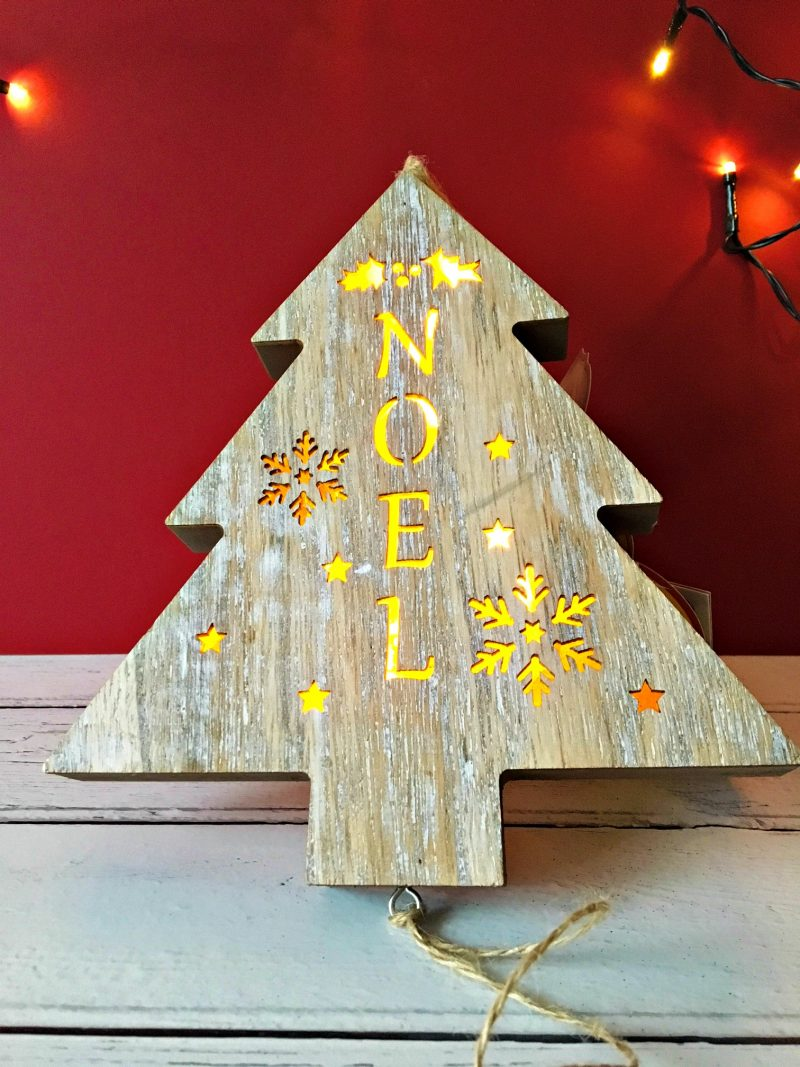The Wooden Christmas Tree Adds A Touch Of Shabby Chic To My Decorations  This Year. The Tree Not Only Lights Up But Has Pretty Cute Dangling Down  Wooden ...